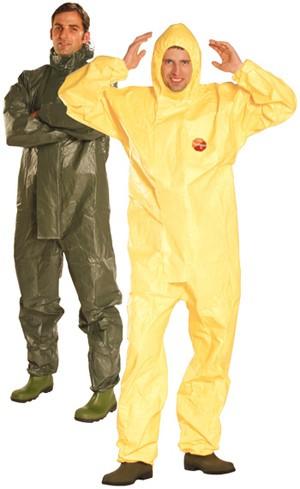 Tychem® C sárga védőoverall nagynyomású vegyszerek, radioaktív részecskék, biológiai veszélyek ellen