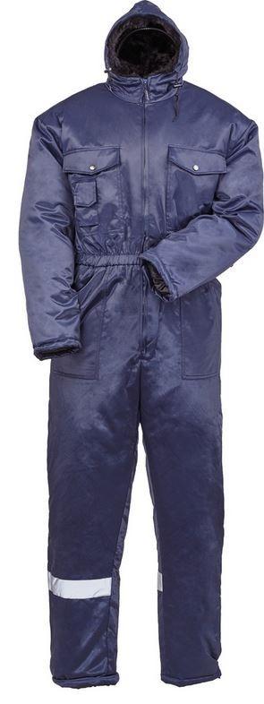 BEAVER királykék hűtőházi  overall, fluo csík,hőszigetelő bélés